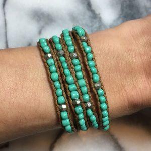 Turquoise beaded wrap boho bracelet